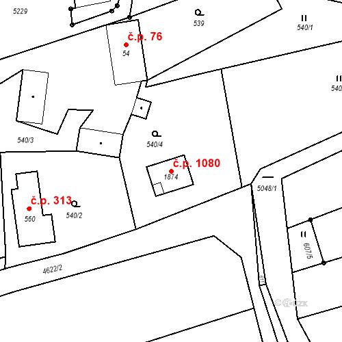 Katastrální mapa Stavební objekt Mosty u Jablunkova 1080, Mosty u Jablunkova