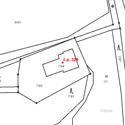 Katastrální mapa Stavební objekt Dolní Líštná 328, Třinec