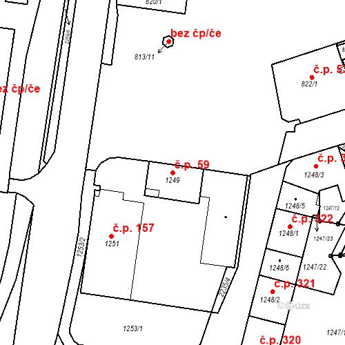 Katastrální mapa Stavební objekt Staré Město 59, Třinec