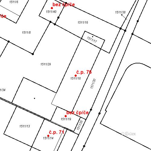 Katastrální mapa Stavební objekt Staré Město 76, Třinec