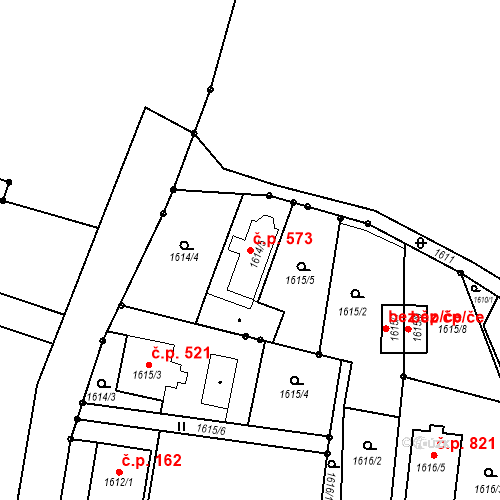 Katastrální mapa Stavební objekt Staré Město 573, Třinec