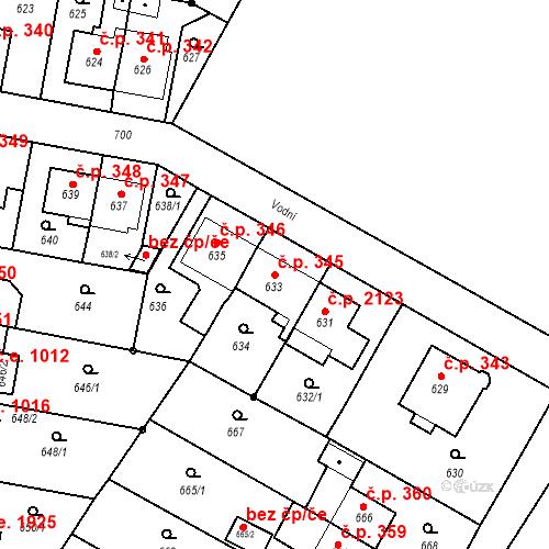 Katastrální mapa Stavební objekt Český Těšín 345, Český Těšín