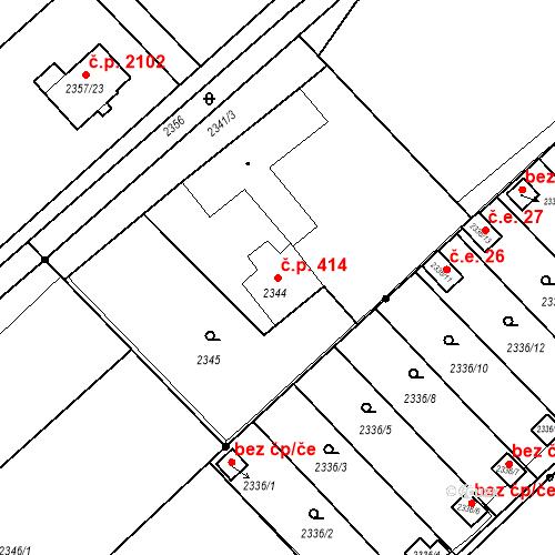 Katastrální mapa Stavební objekt Hranice 414, Karviná