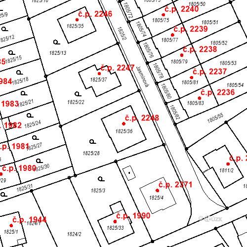 Katastrální mapa Stavební objekt Mizerov 2248, Karviná