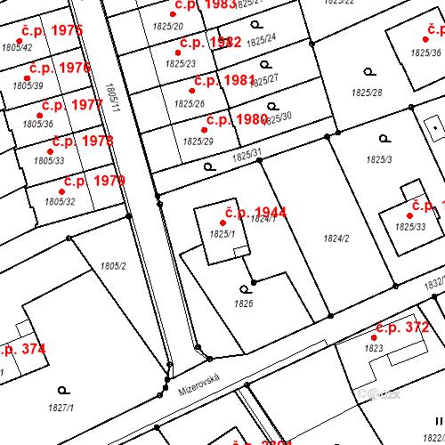 Katastrální mapa Stavební objekt Mizerov 1944, Karviná