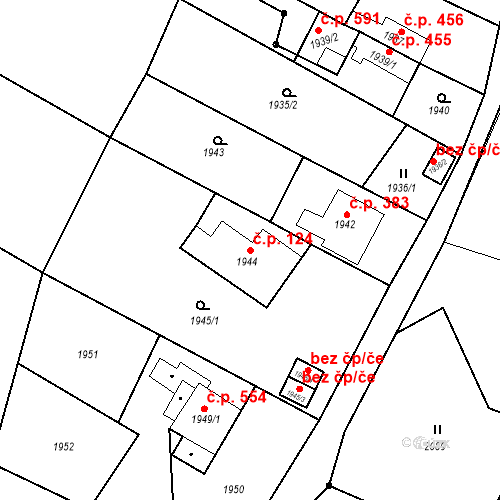 Katastrální mapa Stavební objekt Louky 124, Karviná