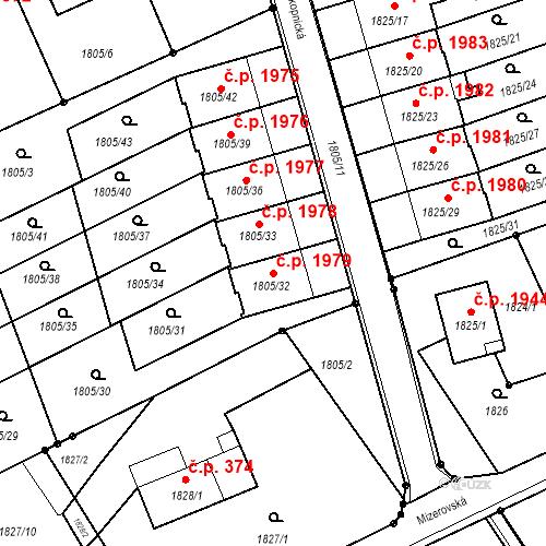 Katastrální mapa Stavební objekt Mizerov 1979, Karviná