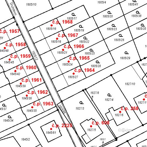 Katastrální mapa Stavební objekt Mizerov 1964, Karviná