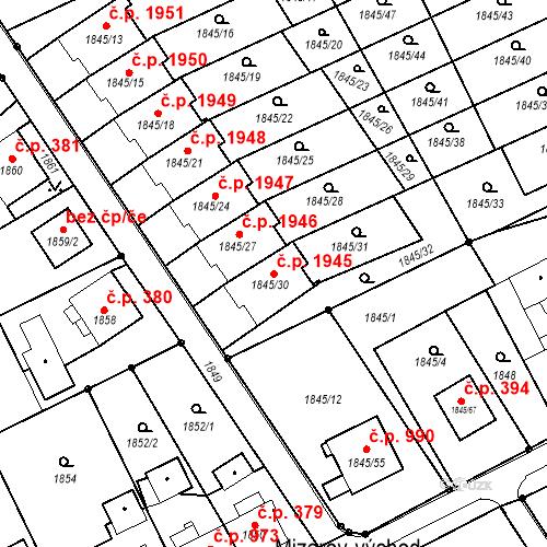 Katastrální mapa Stavební objekt Mizerov 1945, Karviná