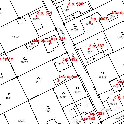 Katastrální mapa Stavební objekt Mizerov 492, Karviná