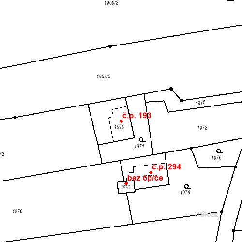 Katastrální mapa Stavební objekt Louky 193, Karviná