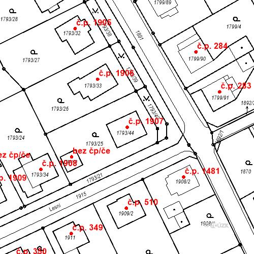 Katastrální mapa Stavební objekt Mizerov 1907, Karviná