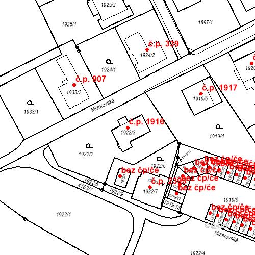 Katastrální mapa Stavební objekt Mizerov 1916, Karviná