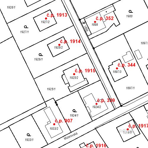 Katastrální mapa Stavební objekt Mizerov 1915, Karviná