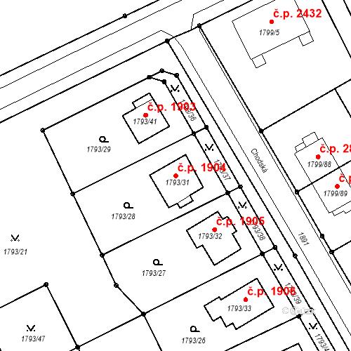 Katastrální mapa Stavební objekt Mizerov 1904, Karviná