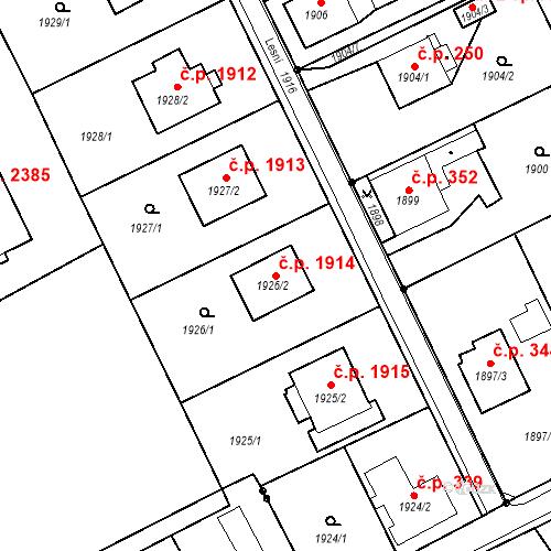 Katastrální mapa Stavební objekt Mizerov 1914, Karviná