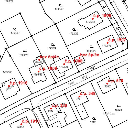 Katastrální mapa Stavební objekt Mizerov 1908, Karviná