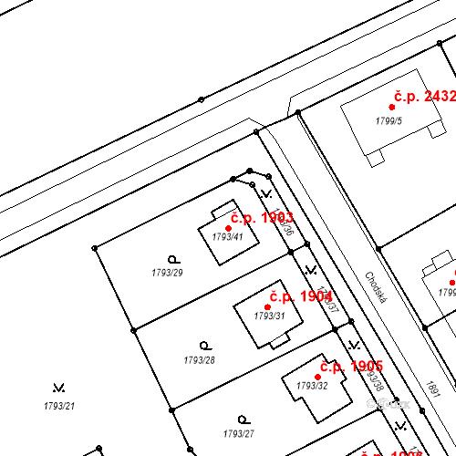 Katastrální mapa Stavební objekt Mizerov 1903, Karviná