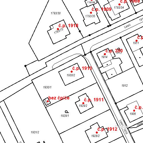 Katastrální mapa Stavební objekt Mizerov 1910, Karviná