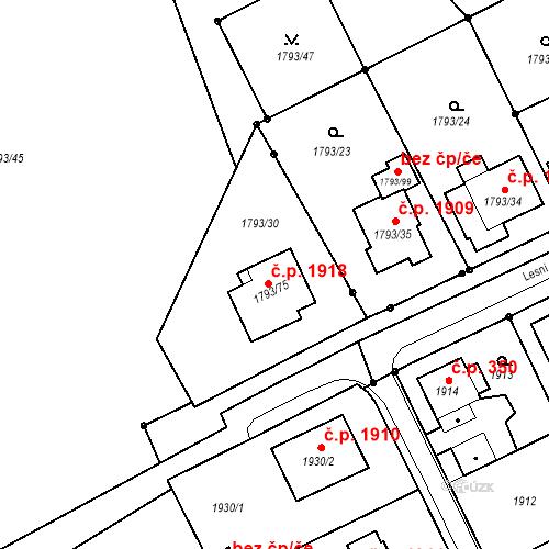 Katastrální mapa Stavební objekt Mizerov 1918, Karviná