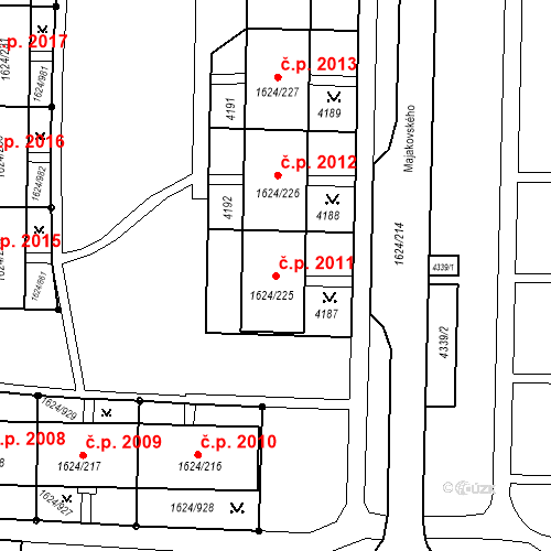Katastrální mapa Stavební objekt Mizerov 2011, Karviná