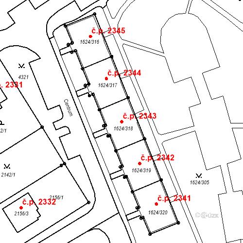 Katastrální mapa Stavební objekt Mizerov 2343, Karviná