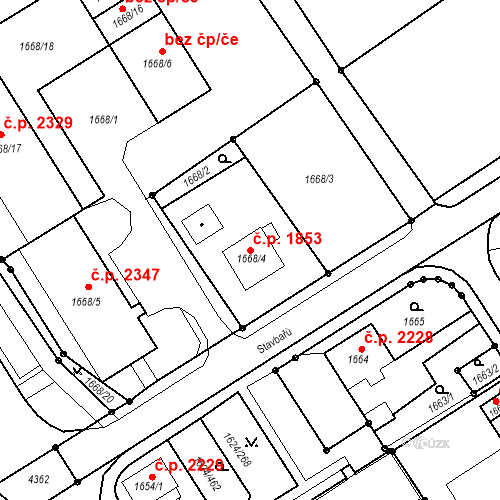 Katastrální mapa Stavební objekt Mizerov 1853, Karviná