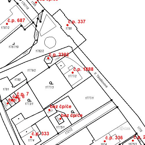 Katastrální mapa Stavební objekt Mizerov 1888, Karviná