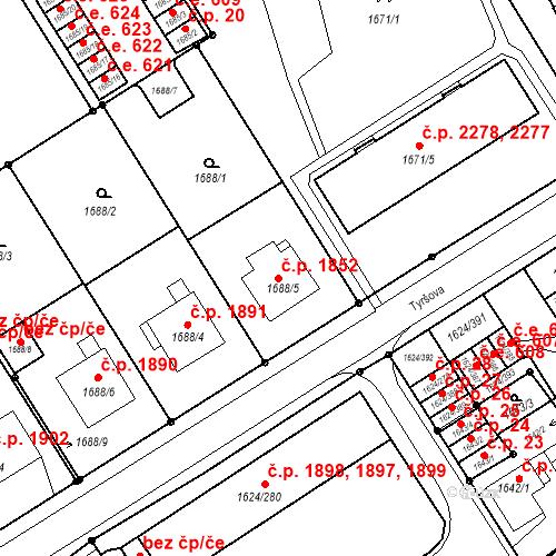 Katastrální mapa Stavební objekt Mizerov 1852, Karviná