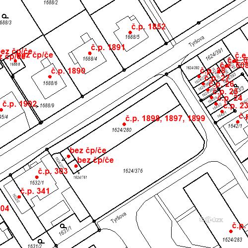 Katastrální mapa Stavební objekt Mizerov 1897, 1898, 1899, Karviná