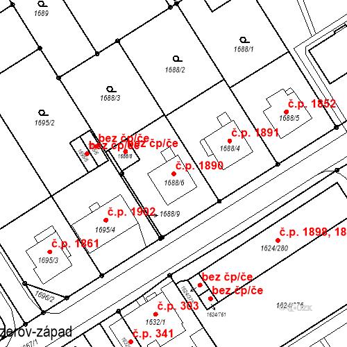 Katastrální mapa Stavební objekt Mizerov 1890, Karviná