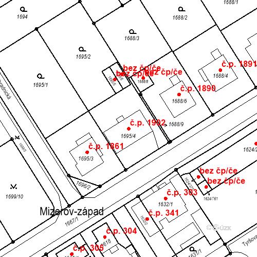 Katastrální mapa Stavební objekt Mizerov 1902, Karviná