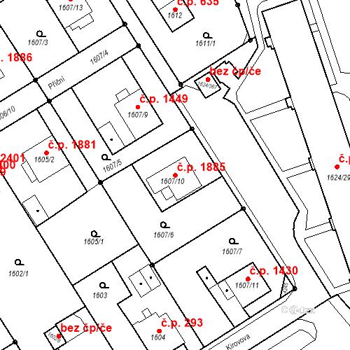 Katastrální mapa Stavební objekt Mizerov 1885, Karviná