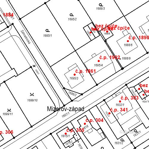 Katastrální mapa Stavební objekt Mizerov 1861, Karviná