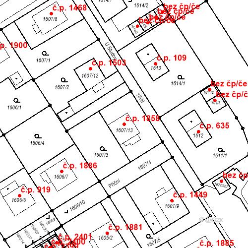 Katastrální mapa Stavební objekt Mizerov 1858, Karviná