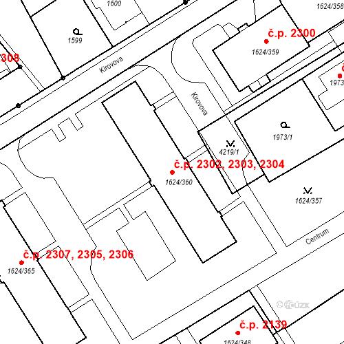 Katastrální mapa Stavební objekt Mizerov 2302, 2303, 2304, Karviná
