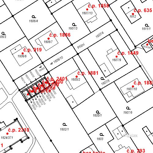 Katastrální mapa Stavební objekt Mizerov 1881, Karviná