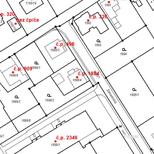 Katastrální mapa Stavební objekt Mizerov 1884, Karviná