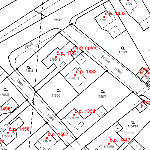 Katastrální mapa Stavební objekt Mizerov 1882, Karviná