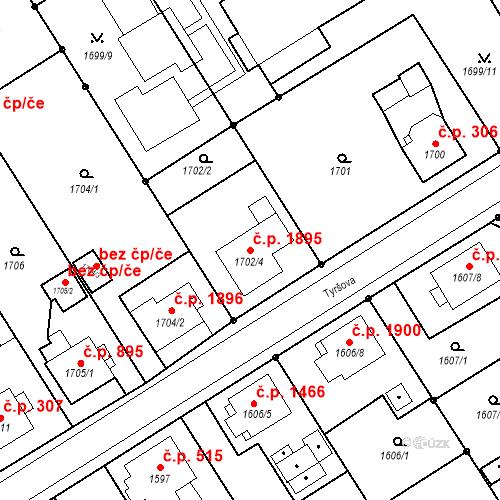 Katastrální mapa Stavební objekt Mizerov 1895, Karviná