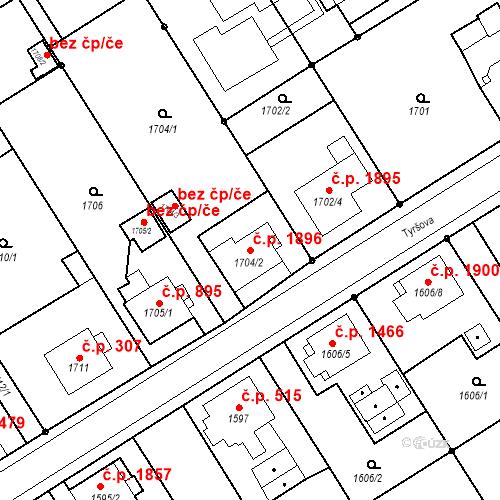 Katastrální mapa Stavební objekt Mizerov 1896, Karviná