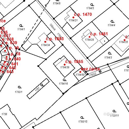 Katastrální mapa Stavební objekt Mizerov 1865, Karviná