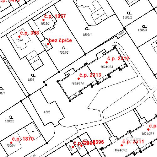 Katastrální mapa Stavební objekt Mizerov 2313, Karviná