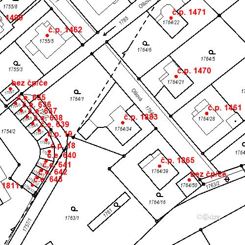 Katastrální mapa Stavební objekt Mizerov 1883, Karviná