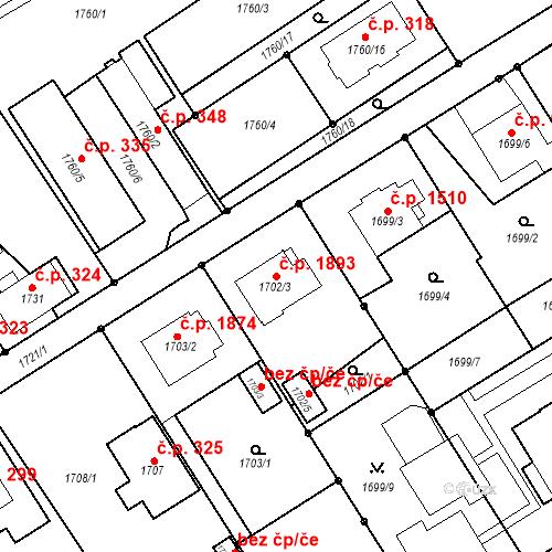 Katastrální mapa Stavební objekt Mizerov 1893, Karviná
