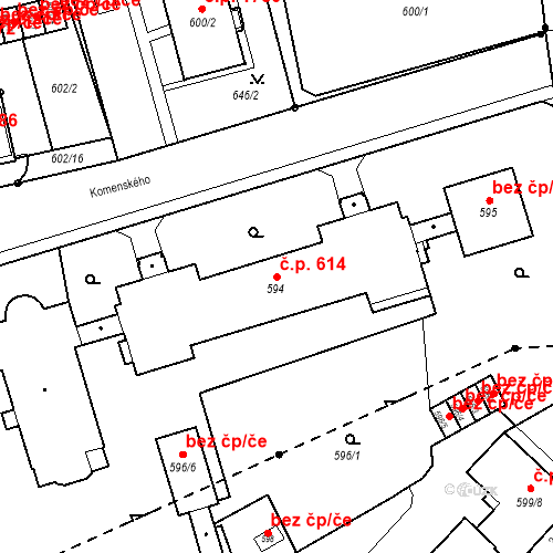 Katastrální mapa Stavební objekt Nové Město 614, Karviná