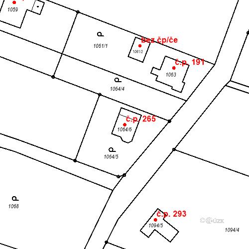 Katastrální mapa Stavební objekt Střítež 265, Střítež