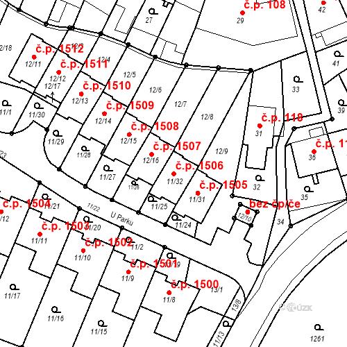 Katastrální mapa Stavební objekt Fryštát 1506, Karviná