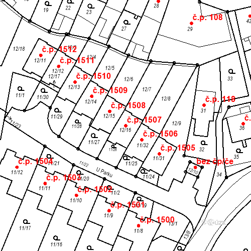 Katastrální mapa Stavební objekt Fryštát 1507, Karviná