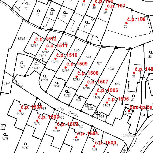 Katastrální mapa Stavební objekt Fryštát 1508, Karviná